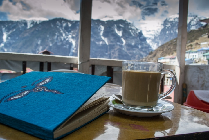 Enjoying Milk Tea With a View in Namche Bazaar