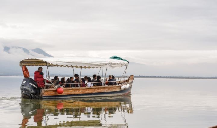 People in a boat on Kerkini Lake