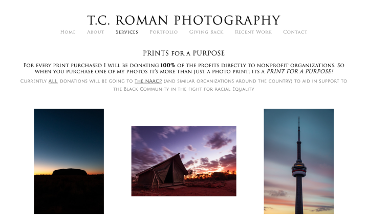 Tristen Roman's photography website